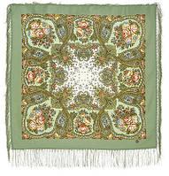 Сольвейг 1549-3, павлопосадский платок шерстяной  с шелковой бахромой