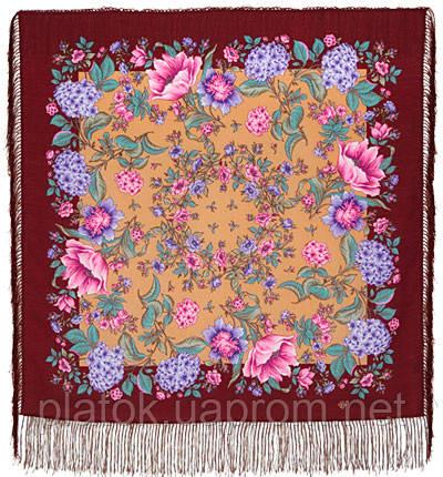 Цветомания 1439-7, павлопосадский платок шерстяной  с шелковой бахромой