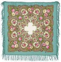 Янтарный вечер 1222-3, павлопосадский платок шерстяной с шерстяной бахромой