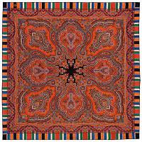 Татьяна 1564-4, павлопосадский платок шерстяной  с оверлоком