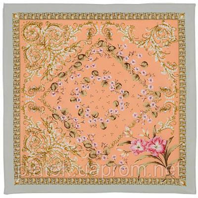 Пармские фиалки 1382-1, павлопосадский платок (крепдешин) шелковый с подрубкой
