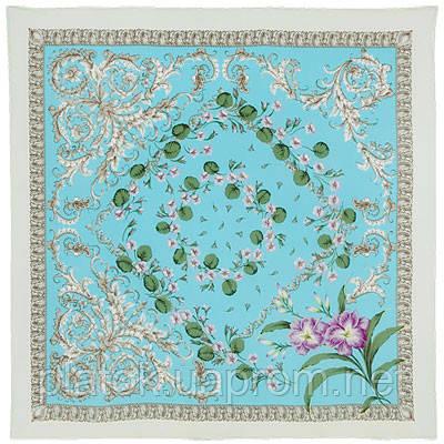 Пармские фиалки 1382-2, павлопосадский платок (крепдешин) шелковый с подрубкой
