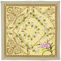 Пармские фиалки 1382-3, павлопосадский платок (крепдешин) шелковый с подрубкой, фото 1