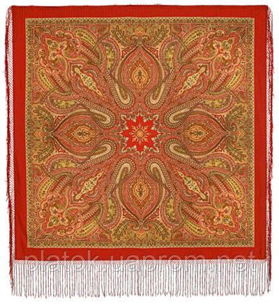 Таинственный вечер 1539-4, павлопосадский платок (шаль) из уплотненной шерсти с шелковой вязанной бахромой