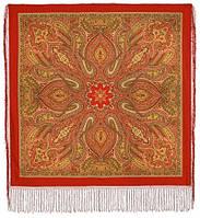 Таинственный вечер 1539-4, павлопосадский платок (шаль) из уплотненной шерсти с шелковой вязанной бахромой, фото 1