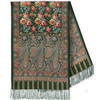Расцветающие камни 1442-60, павлопосадский шарф-палантин шерстяной с шелковой бахромой