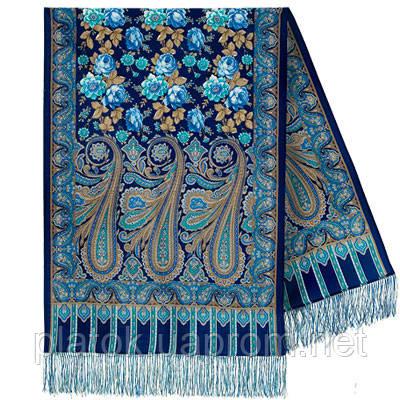 Расцветающие камни 1442-65, павлопосадский шарф-палантин шерстяной с шелковой бахромой