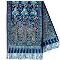 Расцветающие камни 1442-65, павлопосадский шарф-палантин шерстяной с шелковой бахромой, фото 1