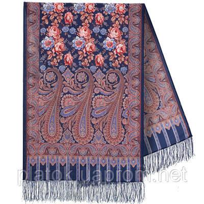 Расцветающие камни 1442-64, павлопосадский шарф-палантин шерстяной с шелковой бахромой