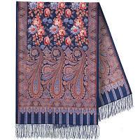 Расцветающие камни 1442-64, павлопосадский шарф-палантин шерстяной с шелковой бахромой, фото 1