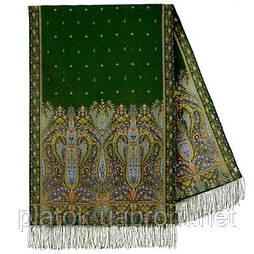 Русалка 1156-59, павлопосадский шарф-палантин вовняної з шовковою бахромою