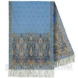 Русалка 1156-63, павлопосадский шарф-палантин вовняної з шовковою бахромою