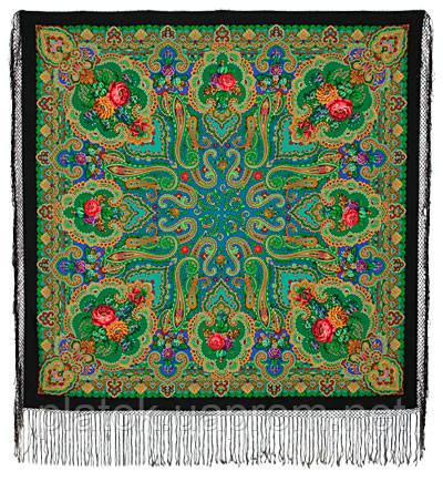 Сказка 390-19, павлопосадский платок (шаль) из уплотненной шерсти с шелковой вязаной бахромой