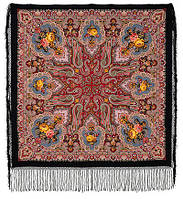 Сказка 390-20, павлопосадский платок (шаль) из уплотненной шерсти с шелковой вязанной бахромой