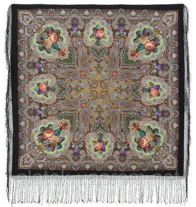 Сказка 390-18, павлопосадский платок (шаль) из уплотненной шерсти с шелковой вязанной бахромой