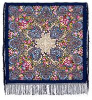 Старый замок 947-14, павлопосадский платок (шаль) из уплотненной шерсти с шелковой вязанной бахромой, фото 1