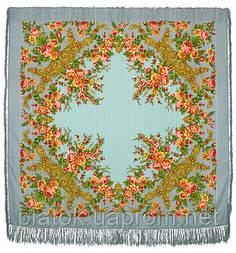 Изысканная 1315-2, павлопосадский платок шерстяной (с просновками) с шелковой бахромой