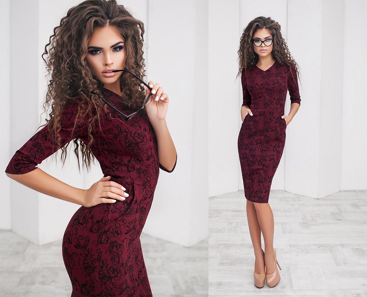 b704a970f735e26 Платье женское бордовое в цветах Новинка ТК/-2025 - Dress Up*-интернет