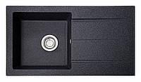 Черная мойка из искусственного камня прямоугольная 78 см Galati Quadro