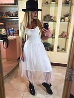 Платье-майка женское с юбкой-сеткой