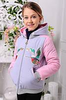 Куртка детская Весенняя «Птицы», серая 128-146 рост