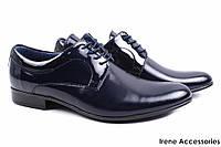 Стильные туфли мужские Tapi комбинированные лаковая кожа + натуральная кожа цвет синий