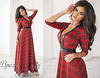 Длинное платье в клеточку, красное, 4 цвета.