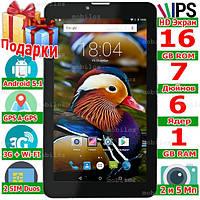 GPS Планшет навигатор с 2 sim LENOVO Tab 7 HD 2 сим ОЗУ 1 Gb ROM 16 Gb 3G Android 5.1 OTG 3000 mAh 2 Подарка