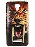 Чехол с рисунком для Prestigio Muze C3 3504 Саблезубый тигр