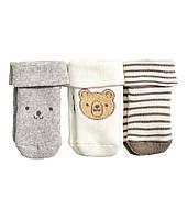 Детские махровые носочки для мальчика (3 пары). 0-1, 3-6 месяцев