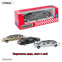 "Машина метал. ""kinsmart"" kt7001w (72шт/6) ""lincoln town car stretch limousine 1999"" в кор. 18см"