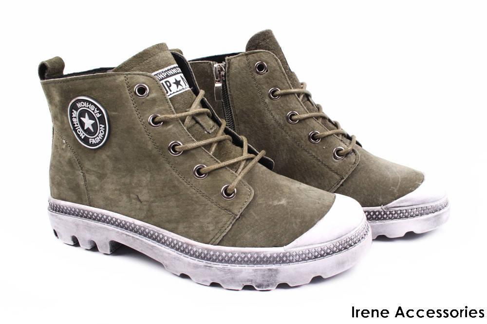 Ботинки женские Li Fexpert комфорт эко-замш зеленые (спортивный стиль,  стильные, каблук 6adc557bd62