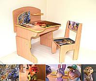 """Детская парта + стул с фотопечатью """"Зверополис"""" из ламинированного ДСП с надстройкой"""