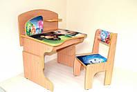 """Деревянная парта и стул """"Фиксики"""" из ламинированного ДСП с надстройкой"""