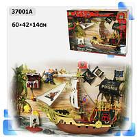 Пиратский набор 37001a (610647), корабль, пират, аксессуары, в коробке: 60х14х42 см