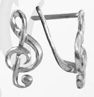 Серьги серебряные Скрипичный Ключ,Нота F 400 551