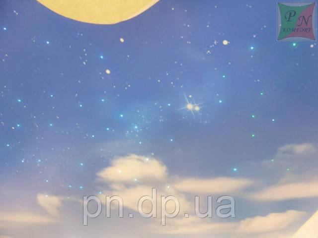 Звездное небо и фотопечать на натяжном потолке. 9