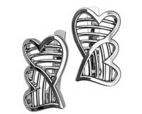 Серьги серебряные Два Сердца 40344