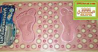 """Коврик силиконовый для ванной на присосках """"Ножки"""", розовый"""