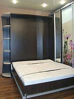 Шкаф-кровать зеркальный фасад с радиусными полками, фото 1