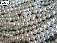Бусина керамическая белый жемчуг 10 мм нить 80 бусин