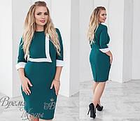 Элегантное платье, зелёное, 5 цветов. р-р: от 48 до 54-го