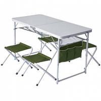 Стол туристический складной Ranger (120х60х80cm) + 4 складных стула, алюминиевая рама