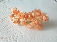 Бумажные цветочки для скрапбукинга 12 шт/уп. 2 см на ножке Orange оранжевые, фото 1
