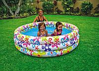 """Детский надувной бассейн INTEX 56440 """"Цветочный""""круг,3секц(3+ лет),рем комплект,в кор. 168*41см IKD /12-11"""