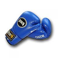 Боксерские кожаные перчатки BWS RING (8 и 12 унций, синий)