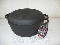 Кастрюля  чугунная  с чугунной крышкой-сковородой. Объем 5,5 литра., фото 1