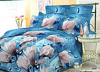 Постельное белье 3191 поплин 100% хлопок ТМ Вилюта Украина голубой бутоны капли Киев