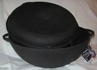 Казан чугунный (кастрюля WOK) с чугунной крышкой-сковородой. Объем 3,5 литров.