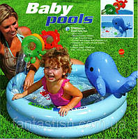 Детский надувной бассейн INTEX 57400 винил,с дельфином и кольцами,рем.комплект,(1-3года)в кор. 90*53см IKD /18
